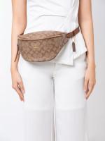 COACH 48740 Signature Belt Bag Khaki Saddle