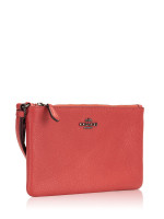 COACH 22952 Polished Leather Small Wristlet Washed Red
