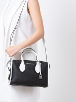 MICHAEL KORS Lacey Perforated Small Duffle Bag Black Optic White