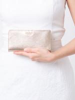 KATE SPADE Cameron Large Slim Bifold Wallet Metallic Blush