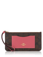 COACH 37565 Signature Large Wristlet Brown Strawberry