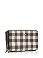 COACH 39148 Gingham Double Zip Travel Wallet Black Multi