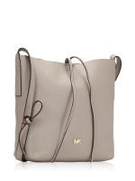 MICHAEL KORS Junie Leather Large Messenger Pearl Grey