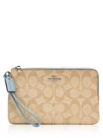 COACH 16109 Signature Double Zip Wallet Khaki Cornflower