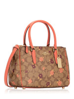 COACH 44961 Signature Tossed Peony Mini Surrey Khaki Pink Multi