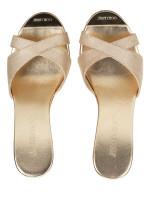 JIMMY CHOO Pandora Wedges Sandals Champagne Sz 37.5
