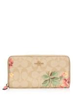 COACH 73345 Signature Lily Print Zip Wallet Light Khaki Pink Multi