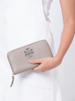 TORY BURCH Britten Leather Zip Wallet French Gray