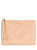 MICHAEL KORS Jet Set Grommet Leather XL Zip Clutch Pastel Pink