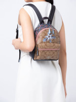 COACH 45312 Signature Star Mini Charlie Backpack Khaki Multi