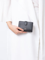 COACH 11484 Crossgrain Medium Corner Zip Wallet Black Silver