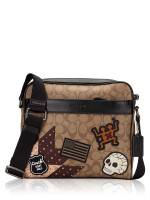 COACH Men 50485 Signature Keith Haring Charles Camera Bag Tan