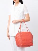 BOTTEGA VENETA Intrecciato Nappa Cube Bag Coral