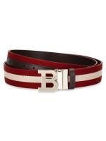 BALLY Men Stripe B Buckle Belt Red