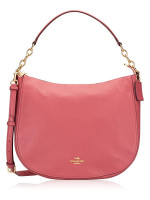 COACH 31399 Pebbled Leather Elle Hobo Strawberry