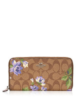 COACH 73345 Signature Lily Print Zip Wallet Khaki Purple Multi
