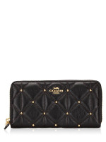 COACH 15763 Quilted Leather Zip Wallet Black