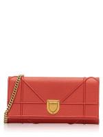 CHRISTIAN DIOR Dior Grained Calfskin Diorama Chain Wallet Rusty Red