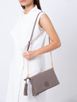 TORY BURCH McGraw Leather Chain Foldover Crossbody Silver Maple
