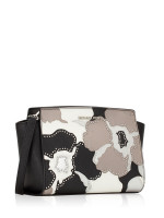 MICHAEL KORS Selma Studded Floral Medium Messenger Black Pearl Grey