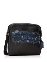 COACH Men 50483 Charles Leather Grafitti Camera Crossbody Black Multi