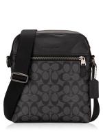 COACH Men 73336 Signature Houston Flight Bag Charcoal Black