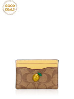 COACH 73079 Signature With Fruit Card Case Khaki Sunflower