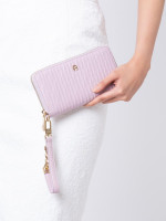 AIGNER Embossed Leather Travel Wallet Mauve