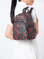 MICHAEL KORS Abbey Signature Floral Medium Backpack Black Red