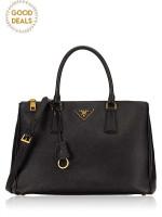 PRADA BN2274 Saffiano Lux Double Zip Tote Black