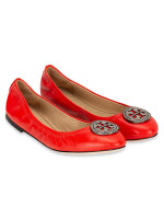 TORY BURCH Liana Leather Flat Exotic Red Sz 7