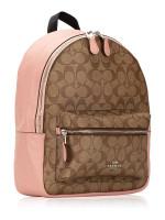 COACH 32200 Signature Charlie Medium Backpack Khaki Petal