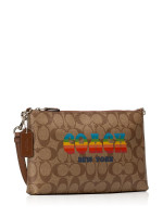 COACH 73513 Signature Rainbow Large Wristlet Khaki Multi