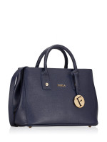 FURLA Linda Small Leather Carryall Tote Navy