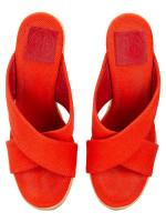 TORY BURCH Kristen Wedges Poppy Orange Sz 7.5