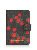 MICHAEL KORS Jet Set Travel Signature Passport Case Black Red Floral