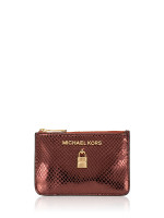 MICHAEL KORS Adele Embossed Leather Small Zip Coin Pouch Merlot
