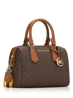 MICHAEL KORS Hayes Monogram Small Duffle Brown Acorn