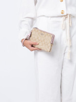 COACH 16109 Signature Double Zip Wallet Light Khaki Carnation
