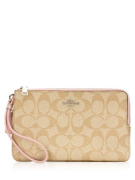 COACH 16109 Signature Double Zip Wallet Light Khaki Carnation