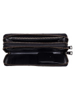 COACH Men 67637 Embossed Leather Double Zip Travel Wallet Black
