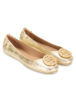 TORY BURCH Minnie Travel Ballet Flats Spark Gold Sz 8