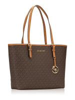 MICHAEL KORS Jet Set Travel Monogram Medium Carryall Tote Brown Acorn