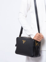 PRADA 1BH079 Vitello Phenix Crossbody Nero