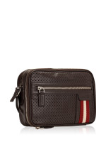 BALLY Men Thames Perforated Leather Clutch Brown