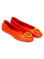TORY BURCH Minnie Tejus Leather Flats Bright Pomander Dark Saffron Sz 7