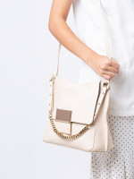 FURLA 2 Tone Leather Shoulder Flap Beige