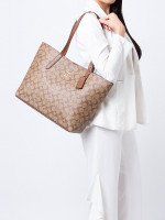 COACH 67108 Signature Avenue Tote Khaki Saddle