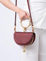 CHLOE Calfskin Nile Minaudiere Bracelet Bag Maroon