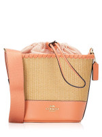 COACH 72707 Straw Bucket Bag Natural Light Coral